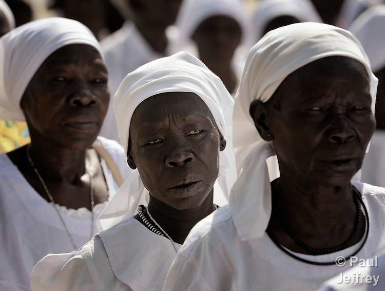 Members of the Legion of Mary join other Catholics in a procession through the streets of Juba on November 20 to pray for a peaceful January 2011 referendum on Southern Sudan's secession from the north of the country. The independence vote has widespread support throughout Southern Sudan, including among Christians. NOTE: In July 2011 Southern Sudan became the independent country of South Sudan.