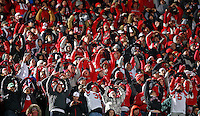 Ohio State Buckeyes fans do the O-H-I-O cheer in the upper bowl after a touchdown against Michigan State Spartans during the 3rd quarter at Spartan Stadium in East Lansing, Michigan on November 8, 2014.  (Dispatch photo by Kyle Robertson)