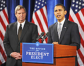 Chicago, IL - December 17, 2008 -- United States President-elect Barack Obama, right, introduces former Iowa Governor Tom Vilsack, left, as his choice for Secretary of Agriculture at a news conference in the Drake Hotel in Chicago, Illinois, USA 17 December 2008. Obama continues to put together his cabinet as he prepares to take office 20 January 2009..Credit: Tannen Maury - Pool via CNP