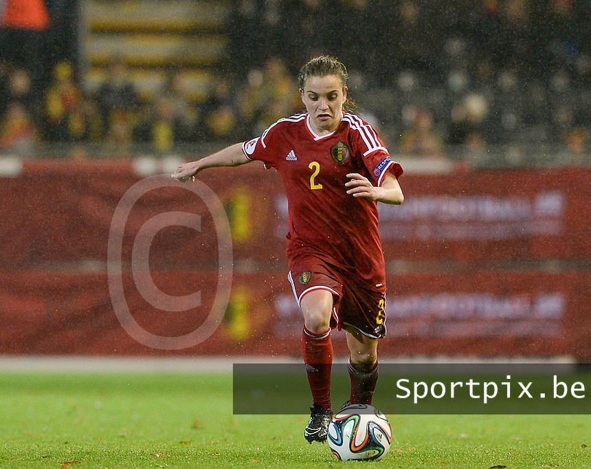 20151130 - LEUVEN ,  BELGIUM : Serbian Davina Philtjens pictured during the female soccer game between the Belgian Red Flames and Serbia , the third game in the qualification for the European Championship in The Netherlands 2017  , Monday 30 November 2015 at Stadion Den Dreef  in Leuven , Belgium. PHOTO DAVID CATRY