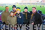 John Clifford, Fionnbharr Hickey, Gerard Hickey, Sean O'Neill, Sheila Daly and Sean McAllister, awaiting the Dr Crokes v Castlebar semi-final held in Portlaoise on Saturday.