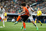 Real Madrid´s Daniel Carvajal (R) and Shakhtar Donetsk´s Marcio Azevedo during Champions League soccer match between Real Madrid and Shakhtar Donetsk at Santiago Bernabeu stadium in Madrid, Spain. Spetember 15, 2015. (ALTERPHOTOS/Victor Blanco)