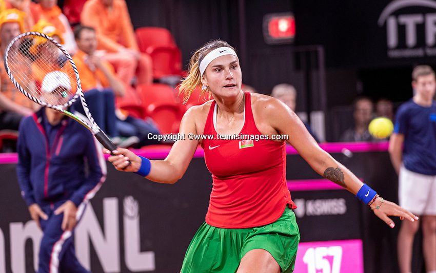 The Hague, The Netherlands, Februari 7, 2020,    Sportcampus, FedCup  Netherlands -  Balarus, Seccond match on friday: Aryna Sabalenka (BLR)<br /> Photo: Tennisimages/Henk Koster