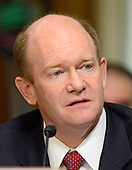 """United States Senator Senator Chris Coons (Democrat of Delaware) questions the witnesses during testimony before the United States Senate Committee on Foreign Relations concerning """"Sanctions and the Joint Comprehensive Plan of Action (JCPOA)"""" on Capitol Hill on Wednesday, July 29, 2015.<br /> Credit: Ron Sachs / CNP"""