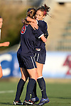 02 November 2012: Virginia's Morgan Brian (6) celebrates scoring her goal with Caroline Miller (right). The Florida State University Seminoles played the University of Virginia Cavaliers at WakeMed Stadium in Cary, North Carolina in a 2012 NCAA Division I Women's Soccer and Atlantic Coast Conference Tournament semifinal game. Virginia won the game 4-2.