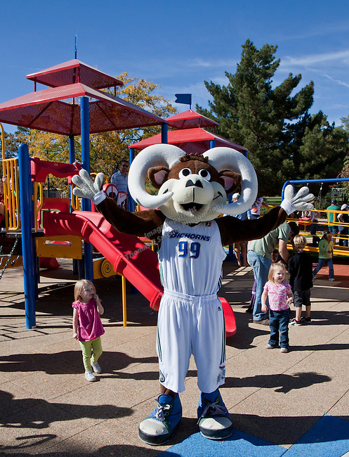 Reno Bighorns mascot Bruno with kids at the grand opening of Inspiration Station, located at Dick Taylor Park in Reno.  The Junior League of Reno and the City of Reno celebrated the opening of the regions only universally accessible playground on Saturday afternoon, October 20, 2012.