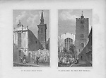 St Mildred church, Bread Street, Church of St Bartholomew the Great, West Smithfield, engraving 'Metropolitan Improvements, or London in the Nineteenth Century' London, England, UK 1828