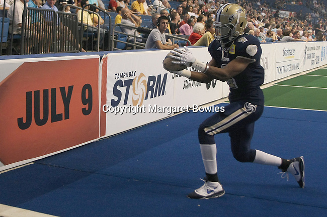25 June 2010: Tampa wide receiver Hank Edwards pulls in a touchdown as the Tampa Bay Storm defeated the Bossier-Shreveport Battle Wings 78-39 at the St. Pete Forum in Tampa, Florida