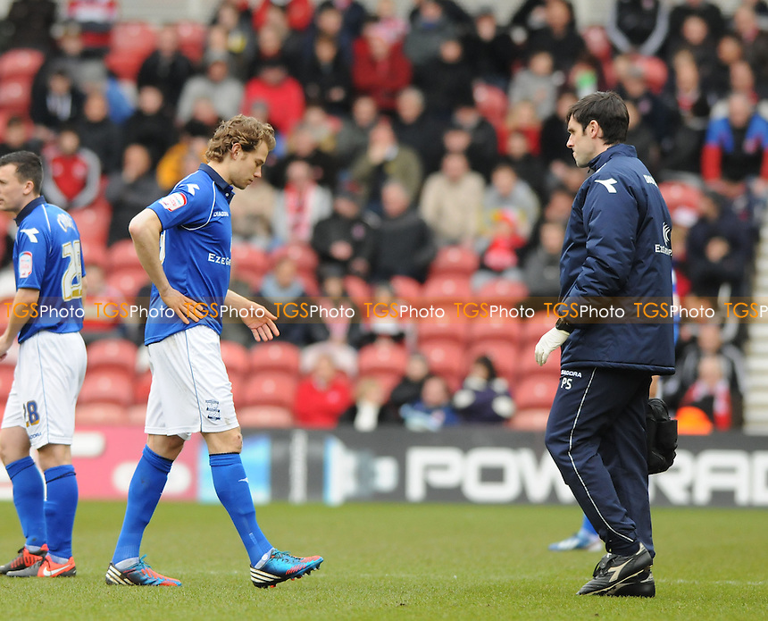 Birmingham City's Jonathan Spector leaves the field through injury - Middlesbrough vs Birmingham City - NPower Championship Football at the Riverside Stadium, Middlesbrough - 16/03/13 - MANDATORY CREDIT: Steven White/TGSPHOTO - Self billing applies where appropriate - 0845 094 6026 - contact@tgsphoto.co.uk - NO UNPAID USE.