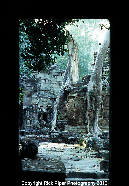 Preah Khan Temple 01 - View through doorway of two silk cotton trees growing over the crumbling ruins of Preah Khan Temple, Angkor, Siem Reap, Cambodia