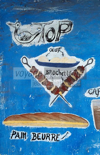 Afrique/Afrique de l'Ouest/Sénégal/Parc National de Basse-Casamance/Cap Skirring : Enseigne d'un restaurant