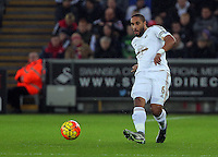 Ashley Williams of Swansea during the Barclays Premier League match between Swansea City and Leicester City at the Liberty Stadium, Swansea on December 05 2015