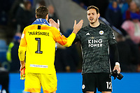 4th January 2020; King Power Stadium, Leicester, Midlands, England; English FA Cup Football, Leicester City versus Wigan Athletic; David Marshall of Wigan Athletic congratulates his opposite number Danny Ward of Leicester City after the final whistle - Strictly Editorial Use Only. No use with unauthorized audio, video, data, fixture lists, club/league logos or 'live' services. Online in-match use limited to 120 images, no video emulation. No use in betting, games or single club/league/player publications
