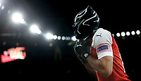 Arsenal's Pierre-Emerick Aubameyang celebrates scoring his side's third goal <br /> <br /> Photographer Rob Newell/CameraSport<br /> <br /> Football - UEFA Europa League Round of 16 Leg 2 - Arsenal v Rennes - Thursday 14th March 2019 - The Emirates - London<br />  <br /> World Copyright © 2018 CameraSport. All rights reserved. 43 Linden Ave. Countesthorpe. Leicester. England. LE8 5PG - Tel: +44 (0) 116 277 4147 - admin@camerasport.com - www.camerasport.com