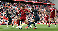 Manchester City's Raheem Sterling has his close range effort charged down by Liverpool's Joe Gomez<br /> <br /> Photographer Rich Linley/CameraSport<br /> <br /> The Premier League - Liverpool v Manchester City - Sunday 7th October 2018 - Anfield - Liverpool<br /> <br /> World Copyright &copy; 2018 CameraSport. All rights reserved. 43 Linden Ave. Countesthorpe. Leicester. England. LE8 5PG - Tel: +44 (0) 116 277 4147 - admin@camerasport.com - www.camerasport.com