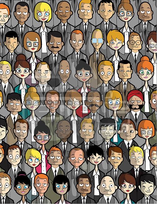 Illustration of multi ethnic business people standing together