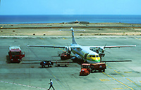 Areoplane being loaded with luggage and fuel, Binter airlines, servicing the canary Islands,, Fuerteventura, Canary Islands, Spain
