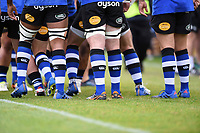 A general view of blue, black and white coloured socks. Aviva Premiership match, between Bath Rugby and Worcester Warriors on October 7, 2017 at the Recreation Ground in Bath, England. Photo by: Patrick Khachfe / Onside Images