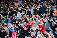 Lincoln City fans celebrate their teams goal, scored by Neal Eardley<br /> <br /> Photographer Chris Vaughan/CameraSport<br /> <br /> The EFL Sky Bet League Two - Lincoln City v Macclesfield Town - Saturday 30th March 2019 - Sincil Bank - Lincoln<br /> <br /> World Copyright © 2019 CameraSport. All rights reserved. 43 Linden Ave. Countesthorpe. Leicester. England. LE8 5PG - Tel: +44 (0) 116 277 4147 - admin@camerasport.com - www.camerasport.com