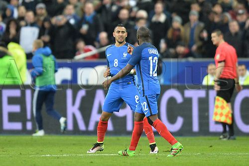 29.03.2016. Stade de France, Paris, France. International football friendly. France versus Russia.  DIMITRI PAYET celebrates as he scores for France in the 64th minute