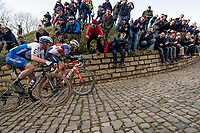 race leaders Jasper Stuyven (BEL/Trek-Segafredo) & Yves Lampaert (BEL/Deceuninck-QuickStep) side by side up the Kapelmuur / Muur van Geraardsbergen<br /> <br /> 75th Omloop Het Nieuwsblad 2020 (1.UWT)<br /> Gent to Ninove (BEL): 200km<br /> <br /> ©kramon