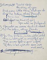 Lyric sheet penned by John Lennon for the Beatles song 'I'm in Love'