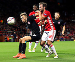 Juan Mata of Manchester United challenges Dmytro Hrechyshkin of FC Zorya Luhansk during the UEFA Europa League match at Old Trafford Stadium, Manchester. Picture date: September 29th, 2016. Pic Matt McNulty/Sportimage
