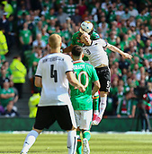 June 11th 2017, Dublin, Republic Ireland; 2018 World Cup qualifier, Republic of Ireland versus Austria;  Florian Kainz of Austria wins the header