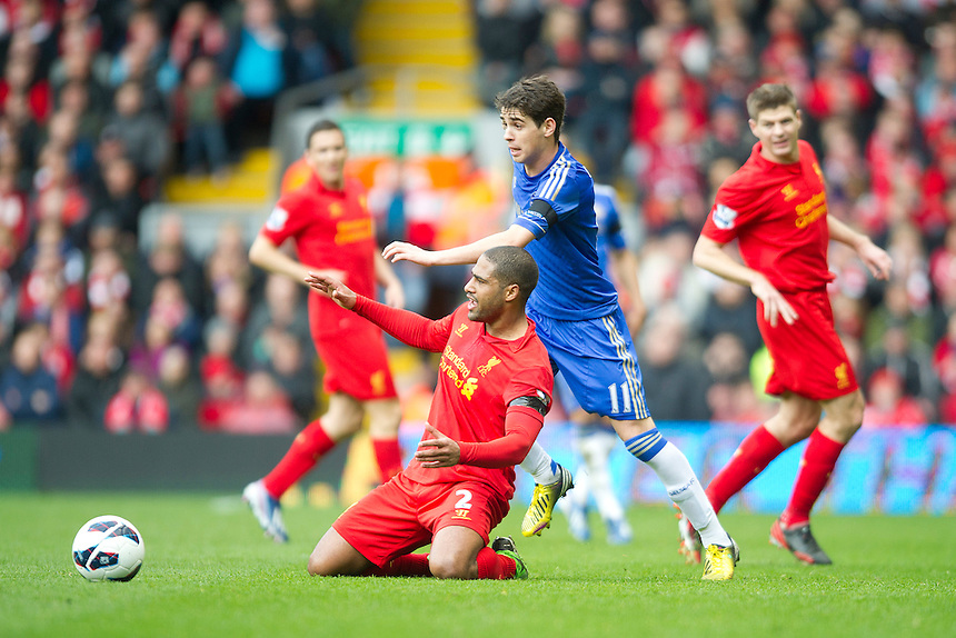 Liverpool's Glen Johnson and Chelsea's Oscar .. - (Photo by Stephen White/CameraSport) - ..Football - Barclays Premiership - Liverpool v Chelsea - Sunday 21st April 2013 - Anfield - Liverpool..© CameraSport - 43 Linden Ave. Countesthorpe. Leicester. England. LE8 5PG - Tel: +44 (0) 116 277 4147 - admin@camerasport.com - www.camerasport.com