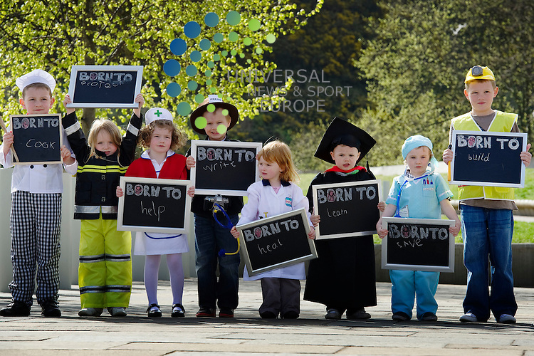 Children, aged between 3 and 7 march on the Scottish Parliament dressed to represent a range of professions, as part of Save The Children's new campaign, 'No Child Born Without A Chance', to urge the Scottish political parties to break the link between poverty and low educational achievement, Edinburgh, Scotland, 12th April, 2011.  .Picture:Scott Taylor Universal News And Sport (Europe) .All pictures must be credited to www.universalnewsandsport.com. (Office)0844 884 51 22.