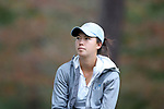 CHAPEL HILL, NC - OCTOBER 14: Former UNC player Leslie Cloots (BEL) watches North Carolina players tee off from the tenth tee. The second round of the Ruth's Chris Tar Heel Invitational Women's Golf Tournament was held on October 14, 2017, at the UNC Finley Golf Course in Chapel Hill, NC.