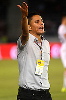 BARRANQUILLA- COLOMBIA -22 -08-2015: Giovanni Hernandez, tecnico de Uniautonoma, durante partido entre Uniautonoma y Atletico Junior, por la fecha 8 de la Liga Aguila II-2015, jugado en el estadio Metropolitano Roberto Melendez de la ciudad de Barranquilla. / Giovanni Hernandez, coach of Uniautonoma,  during a match between Uniautonoma and Atletico Junior, for the date 8 of the Liga Aguila II-2015 at the Metropolitano Roberto Melendez Stadium in Barranquilla city, Photo: VizzorImage  / Alfonso Cervantes / Cont.