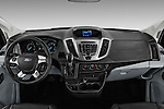 Stock photo of straight dashboard view of 2016 Ford Transit 350-XLT-Wagon-High-Roof-Pass-Slide-148WB 4 Door Passenger Van Dashboard