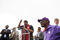 The Rev. William Barber of the North Carolina NAACP leads the ninth Moral Monday protest at the North Carolina State Legislature in Raleigh, July 1, 2013.