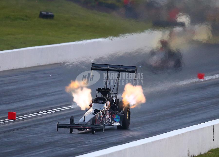 May 20, 2016; Topeka, KS, USA; NHRA top fuel driver Scott Palmer during qualifying for the Kansas Nationals at Heartland Park Topeka. Mandatory Credit: Mark J. Rebilas-USA TODAY Sports