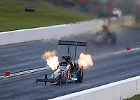May 20, 2016; Topeka, KS, USA; NHRA top fuel driver Scott Palmer during qualifying for the Kansas Nationals at Heartland Park Topeka. Mandatory Credit: Mark J. Rebilas-USA TODAY Sports