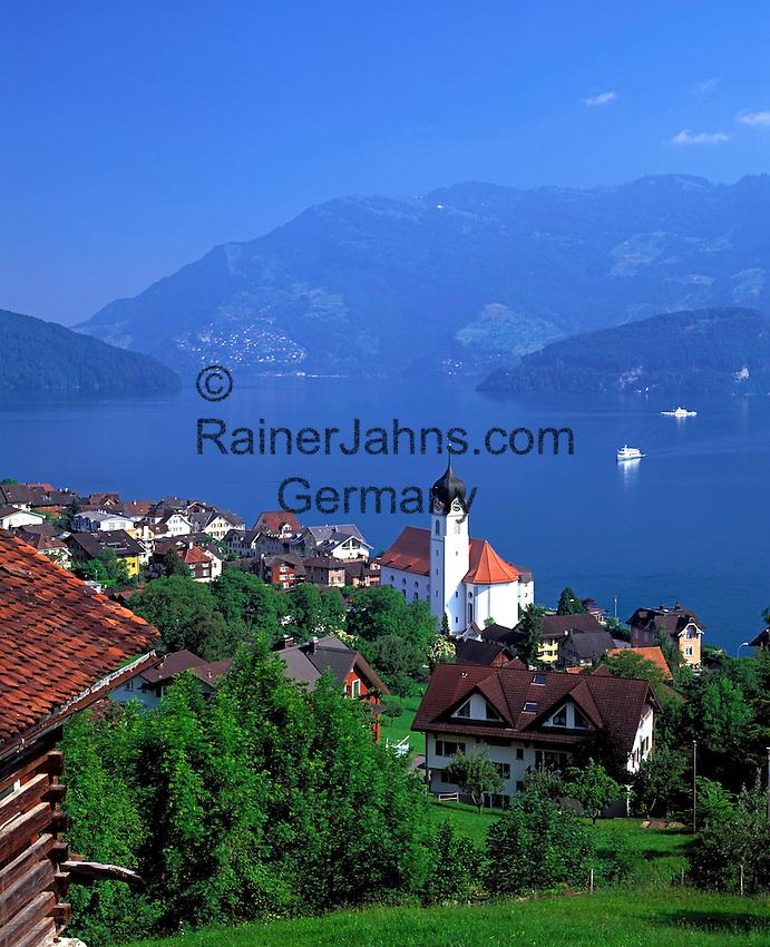 Switzerland, Canton Unterwalden, Beckenried: motor vessel visiting the holiday resort