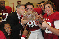 STANFORD, CA - NOVEMBER 28:  Richard Sherman, Bob Bowlsby, James McGillcuddy, Erik Lorig and Bo McNally of the Stanford Cardinal after Stanford's 45-38 win over the Notre Dame Fighting Irish on November 28, 2009 at Stanford Stadium in Stanford, California.