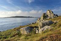 Looking toward Hugh Town, Porthcressa Beach and The Garrison from the coastal path near Peninnis, St Mary's, Isles of Scilly