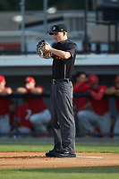 Home plate umpire Nathan Dietrich during the Appalachian League game between the Johnson City Cardinals and the Burlington Royals at Burlington Athletic Stadium on July 15, 2018 in Burlington, North Carolina. The Cardinals defeated the Royals 7-6.  (Brian Westerholt/Four Seam Images)