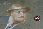 Pavement portrait of James Joyce  Dublin Ireland Eire. ReJoyce Bloomsday.