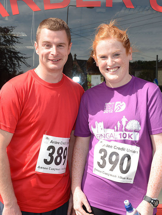 Damien Wallace and Emma Halpenny who took part in the Turfman 10K run in Ardee. Photo:Colin Bell/pressphotos.ie