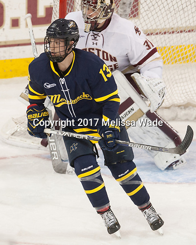Brett Seney (Merrimack - 14) - The visiting Merrimack College Warriors defeated the Boston College Eagles 6 - 3 (EN) on Friday, February 10, 2017, at Kelley Rink in Conte Forum in Chestnut Hill, Massachusetts.