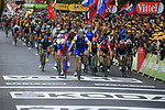 at sign on in Dusseldorf before the start of Stage 2 of the 104th edition of the Tour de France 2017, running 203.5km from Dusseldorf, Germany to Liege, Belgium. 2nd July 2017.<br /> Picture: Eoin Clarke | Cyclefile<br /> <br /> <br /> All photos usage must carry mandatory copyright credit (&copy; Cyclefile | Eoin Clarke)