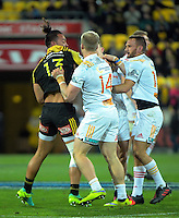 Matt Proctor makes friends during the Super Rugby semifinal match between the Hurricanes and Chiefs at Westpac Stadium, Wellington, New Zealand on Saturday, 30 July 2016. Photo: Dave Lintott / lintottphoto.co.nz
