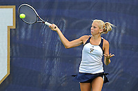 18 March 2012:  FIU's Karyn Guttormsen returns the ball during her doubles match against Columbia's Nicole Bartnik and Lani Alecsiu as the Columbia Lions defeated the FIU Golden Panthers, 5-2, at University Park in Miami, Florida.