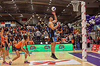NZ Men's Junior Levi shoots during the Cadbury Netball Series match between NZ Men and All Stars at the Bruce Pullman Arena in Papakura, New Zealand on Friday, 28 June 2019. Photo: Dave Lintott / lintottphoto.co.nz