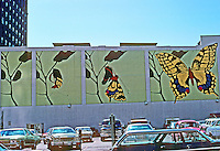 St. Louis: Parking Lot Mural, Pine St. Photo March '77.