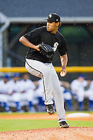 Bristol White Sox starting pitcher Jefferson Olacio #46 in action against the Burlington Royals at Burlington Athletic Park on July 6, 2012 in Burlington, North Carolina.  The Royals defeated the White Sox 5-2.  (Brian Westerholt/Four Seam Images)