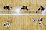PENSACOLA, FL - DECEMBER 09: Bethany Besancenez (10) of Florida Southern College, bottom right, watches the ball land during the Division II Women's Volleyball Championship held at UWF Field House on December 9, 2017 in Pensacola, Florida. (Photo by Timothy Nwachukwu/NCAA Photos via Getty Images)